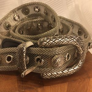 Metal Mesh and leather unique studded belt